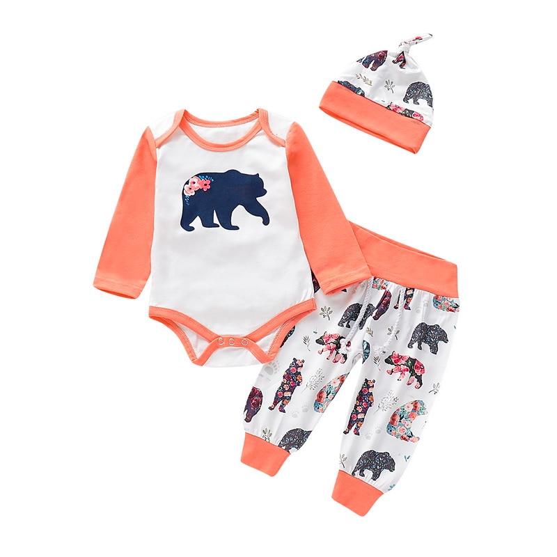 Animal Print Baby Girl Clothes Set Kids 3Pcs Pure White Bodysuit+Long Pant+Soft Cap Fall Clothing 2019 Autumn D30