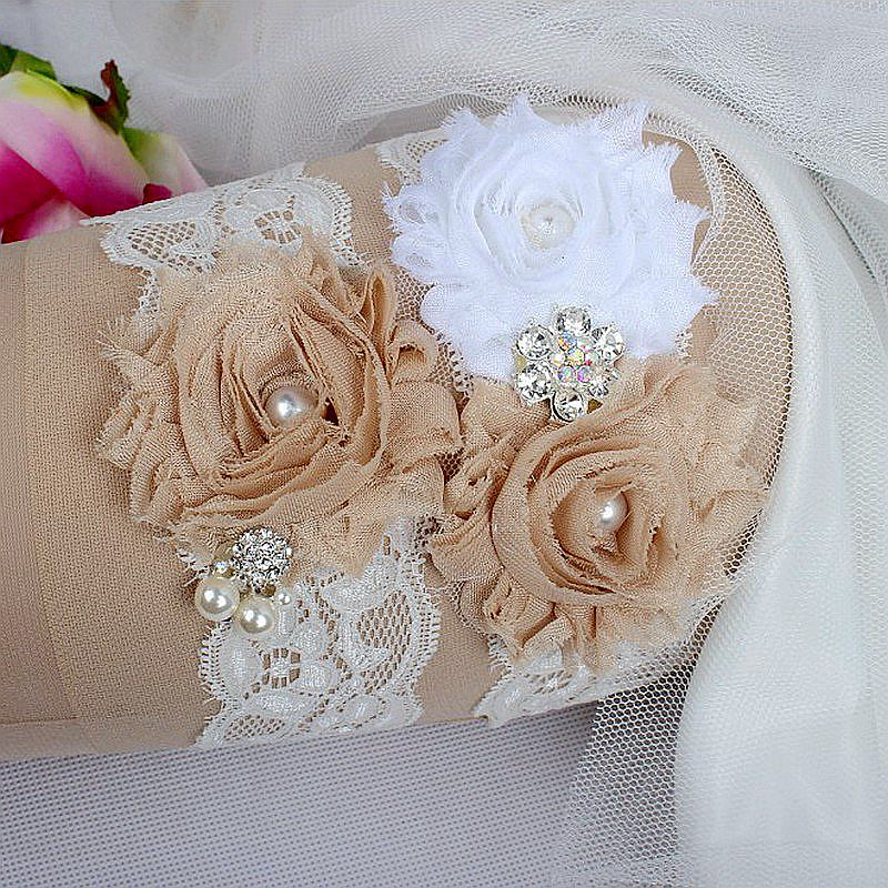 Crystal Wedding Garter: Hand Made Vintage CRYSTAL WEDDING GARTER IVORY Lace Bride