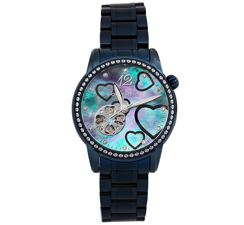 Lucky Four-leaf Hollow Mechanical Self Wind Watch Neutral Women Full Steel Wristwatch Heart Printing Relog Feminino Montre MG581 women favorite extravagant gold plated full steel wristwatch skeleton automatic mechanical self wind watch waterproof nw518
