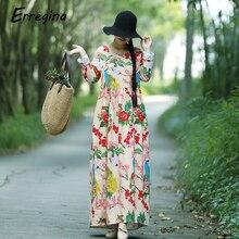 Erregina Vintage Women Maxi Floral Dress Long Sleeves Pockets O Neck Plus Size Cotton Linen Loose Big Robe