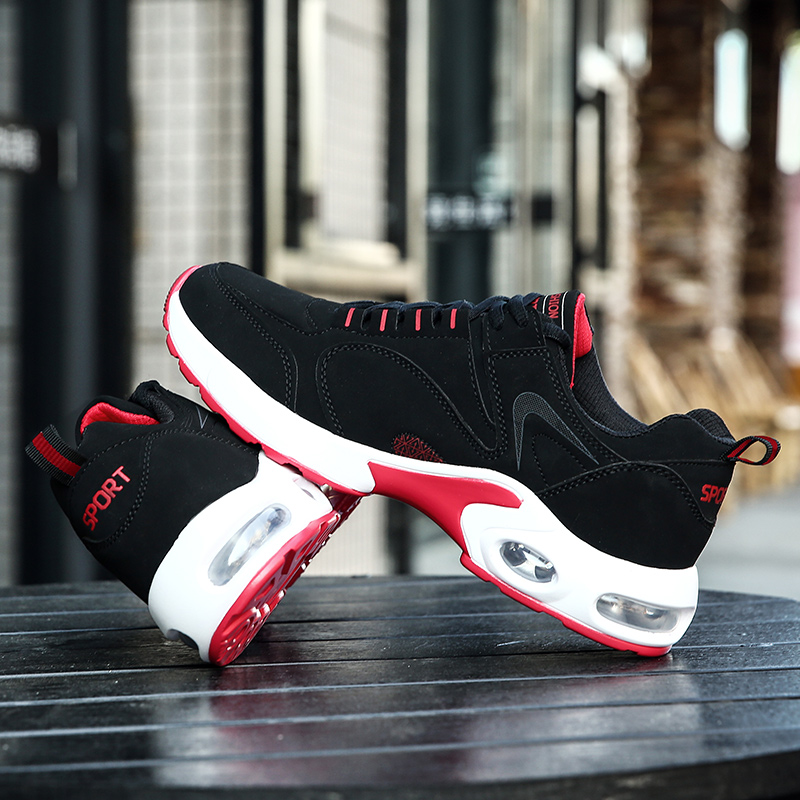 2017 Best Selling Men Running Shoe Black Red Gym Walking Jogging Shoes Air Cushion Men Trendy Running Shoes Cheap Runners