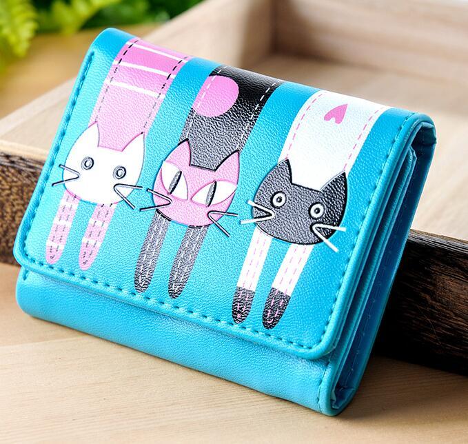 New 2018 Women Purse Mini Wallet Female Hasp Zipper Animal Prints Cute Cartoon Cat Short Girl Bag Clutch PU Leather Money Clip