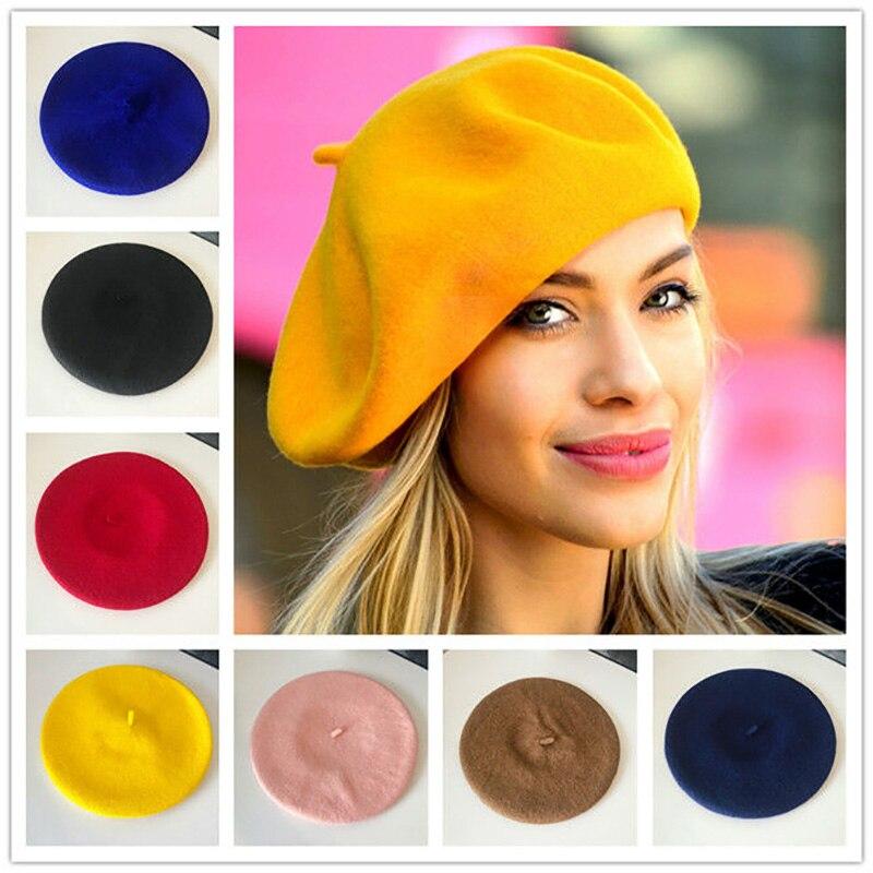 Wool Beret Female Winter Hats For Women Flat Cap Knit 100% Cashmere Hats Lady Girl Berets Hat