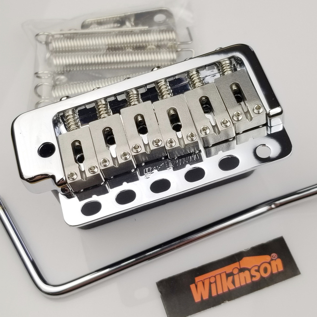 Wilkinson WVP6 Chrome silver ST Electric Guitar Tremolo System Bridge + Stainless Steel Saddles Made in Korea