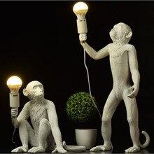 Смола черно-белая обезьяна подвесной светильник на пеньковом канате, настенный светильник для Гостиная лампы Art Гостиная Кабинет номер светодиодные фонари блеск с E27 светодиодные лампы