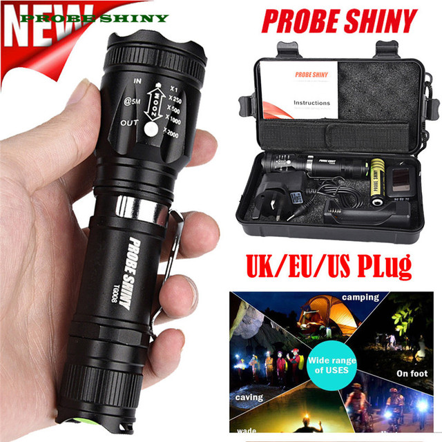 Hot X800 Zoomable Xml T6 Led Tactical Flashlight18650 Battery