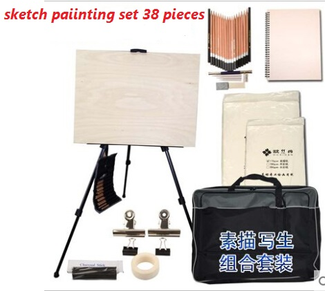 Free shipping 38 pieces sketch for painting tool kit Easel sketchpad pencil sketch suits Atr set painting set with painting bag