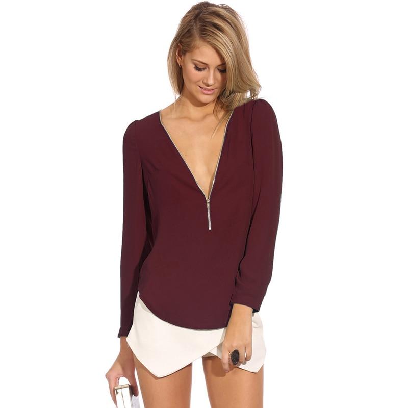 CUHAKCI Women Chiffon   Blouse     Shirts   Deep V Neck Sexy   Shirts   Long Sleeve Solid Tops Casual   Shirt   Blusas Feminina Plus Size   Shirts