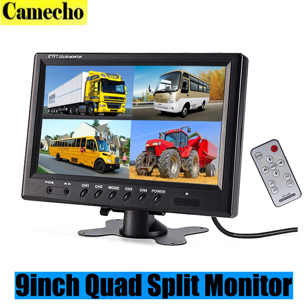 9 Inch TFT LCD Car Monitor Headrest Display Support 4 Split Screen For Rear View Camera DVD VCR With Remote Control Car-styling diykit 9 inch tft lcd car monitor display car reverse rear view monitor screen with bnc av input remote control dvd vcr