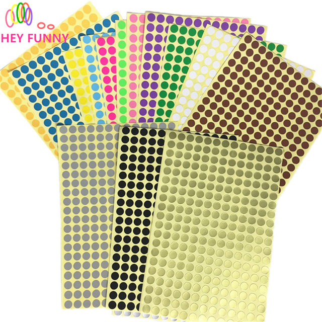 HEY FUNNY 4sheet label Candy color Diameter 0.8cm Coloured Dot Stickers  Round Sticky Adhesive Spot