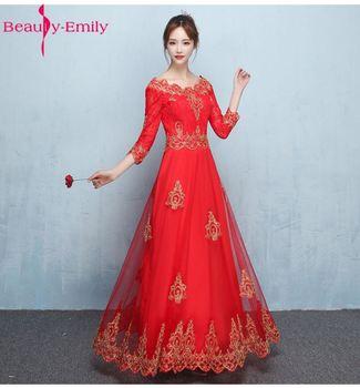 2019 New Custom-made Bride Dress Three Quarter Scalloped A-Line Floor-Length Court Train Lace Up short/Middle/Long Evening Dress
