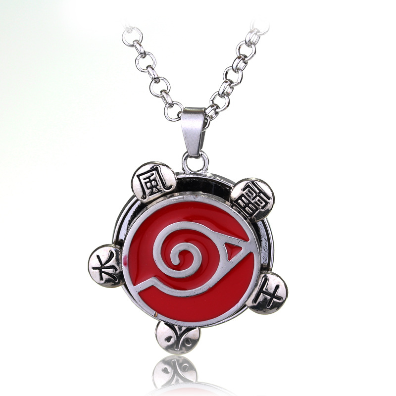Halloween Christmas New Year Gift Japanese Anime Naruto Konoha Rotatable Pendant Necklace Naruto Akatsuki Loge Necklace