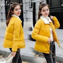 PinkyIsBlack 2018 New Autumn Winter jacket Women Coat Fashion Female Lamb Lapel Short Jacket Parkas Casual Wadded Jackets