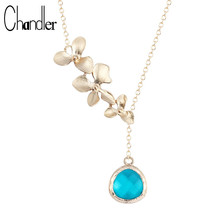 Chandler Orchid Flower Blue Crystal Pendant Necklace Statement Beautiful Blooming Glass Invisible Chain Collier For Women Girls