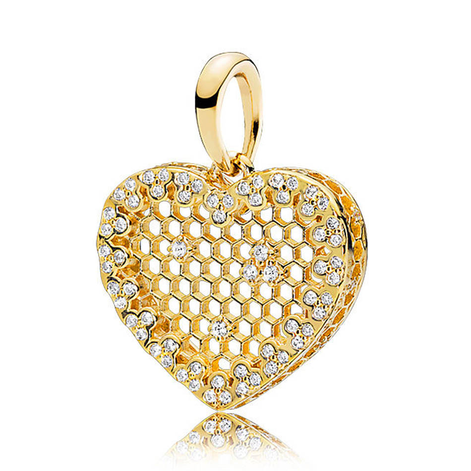 925 Sterling Silver Charm Bead Pendant Shine Honeycomb Lace Necklace Pendant fit Pandora Bracelet & Bangle Lady Fine Jewelry