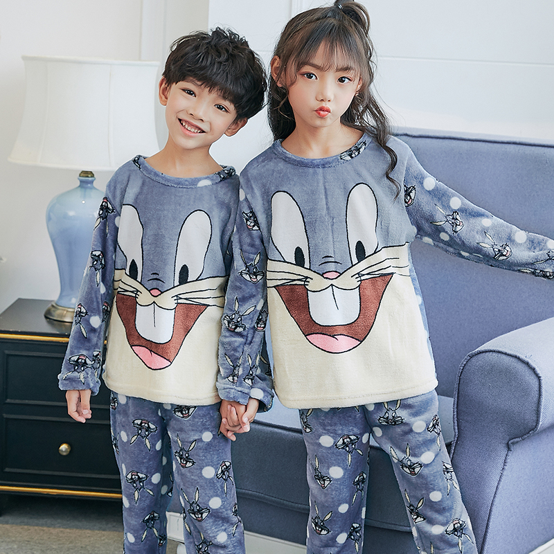 Winter Children Fleece   Pajamas   Thicken Warm Flannel Sleepwear Girls Loungewear Coral Fleece Kids Pijamas Boy Long Top and Pant