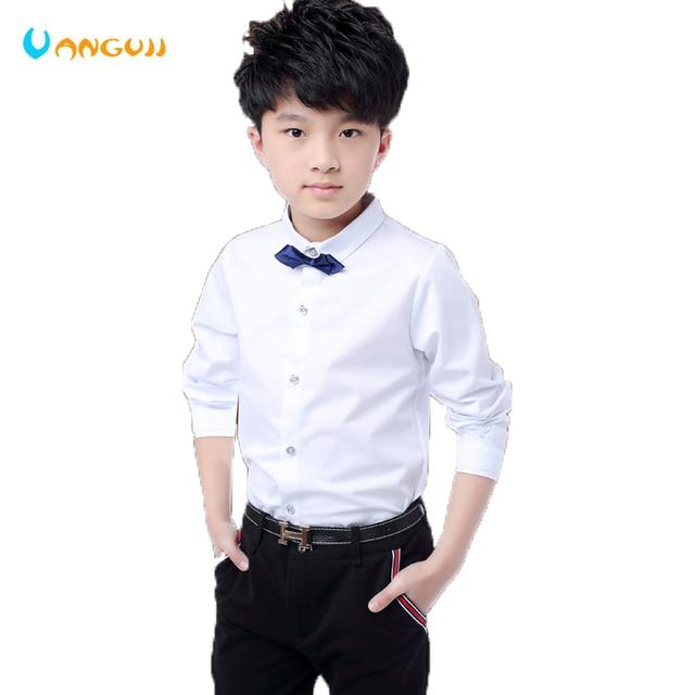 4bc35a0346ec boys shirts hot sale boys white shirt 5-13 years old Dress shirt school  uniform Randomly presented tie cotton Spring autumn