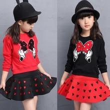 Songge Cartoon Mickey Girls Skirt Set Children Clothes Set Hollow Skirt 3 4 5 6 7 Years Girls Fashion Clothes Set Spring Autumn