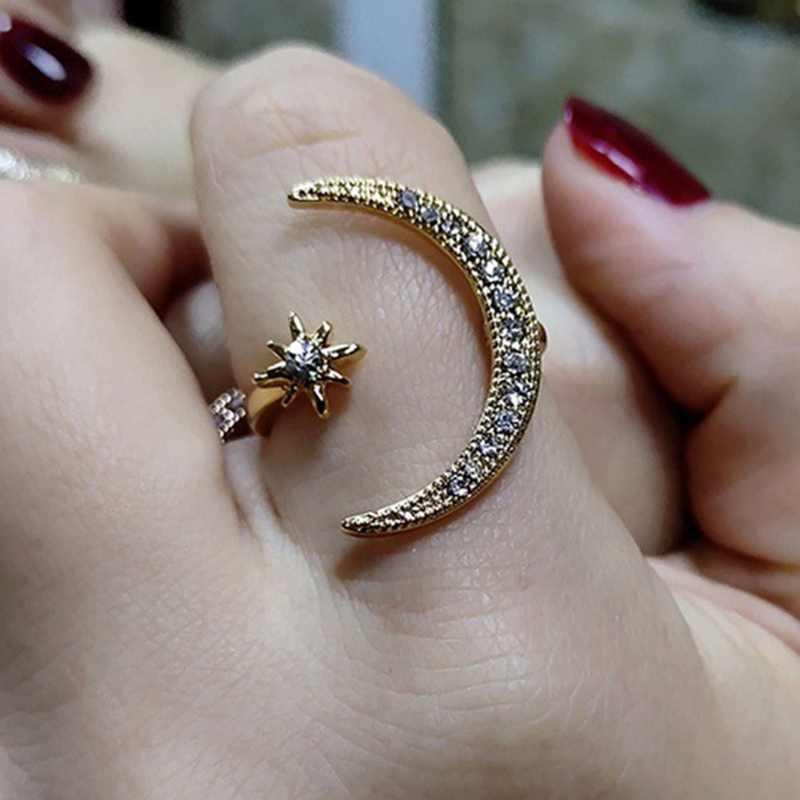 2019 Новое модное кольцо Луна & ЗВЕЗДА ослепительное безразмерное кольцо на палец для женщин девушек ювелирные изделия чистая Свадьба Помолвка Ювелирные изделия Подарки