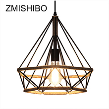 ZMISHIBO Iron Pendant Lights Diamond Shape Hemp Rope Lampshade E27 Base Lamp Vintage Home Decoration Luminary For Living Room vintage creative pendant lamp hemp rope iron lampshade shop coffee house pendant lights bar e27 110 240v free shipping