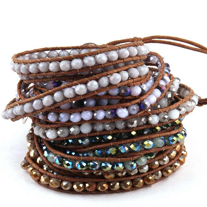 Free Shipping Beautiful Fashion Glass Crystal Long Wrap Bracelet 3 Wraps Leather Bracelet For Women