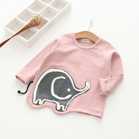 2017 Spring And Autumn Girls Baby Cartoon Elephant Long Sleeved T Shirt Children S Baby Cute