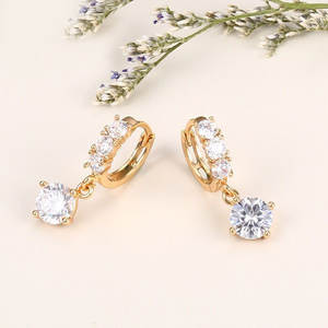 73e1f3c7f YAN MEI Woman White Gold Crystal Jewelry Drop Earrings