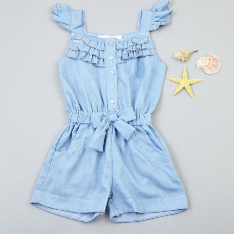 Weixinbuy/Одежда для детей, для малышей, для девочек Комбинезон с голубыми хлопковыми джинсами-варенками комбинезон без рукавов для 0-5 лет для де...