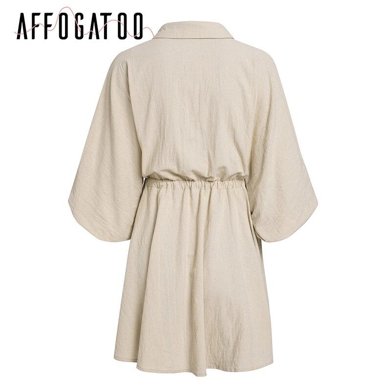 Affogatoo Vintage elagant women mini shirt dress Casual lantern sleeve short dress Turndown collar lace up linen female dresses 9