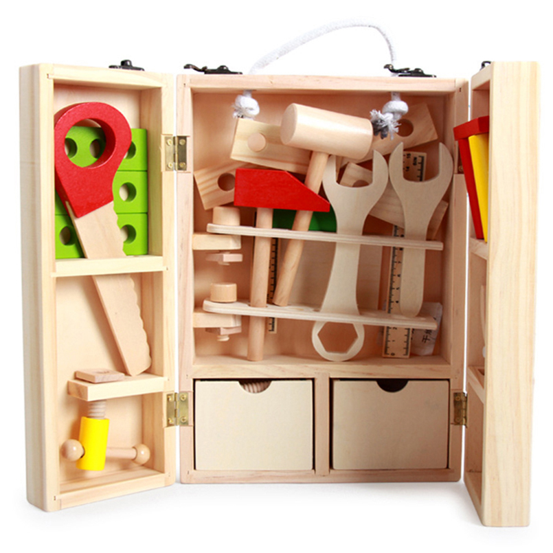 Wood Garden tools toy Multifunctional construction tool building kids toys Boys education pretend play ...