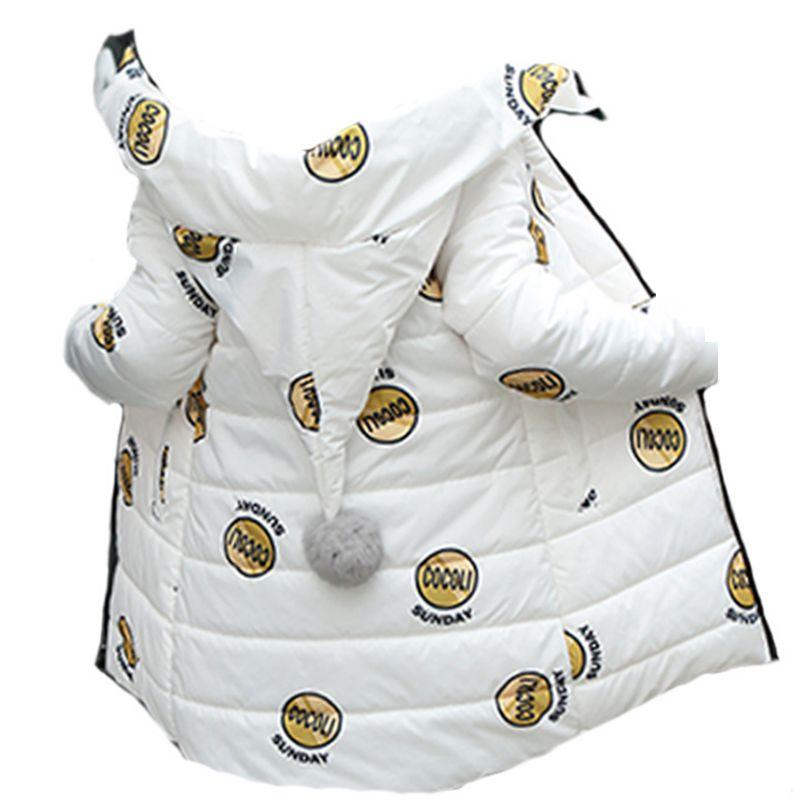 Girls Cotton Winter Children's coat Hooded Warm Down Jacket Girl Thicken Flower Cotton Long Parkas Kids coats LK108 цены онлайн