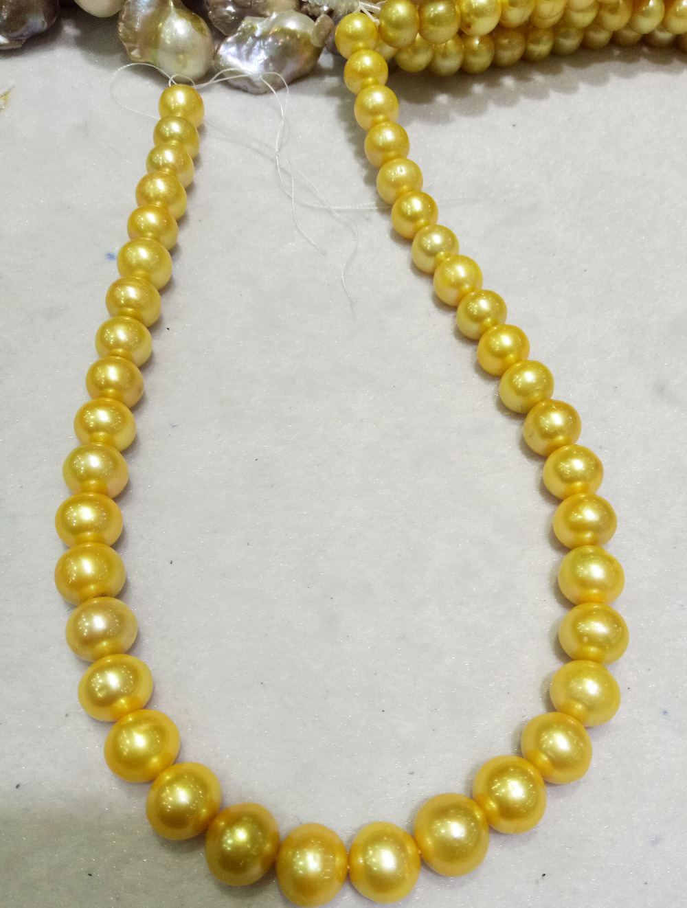 strands 9 10mm genuine Cultured freshwater Golden Pearl pearl 17inch