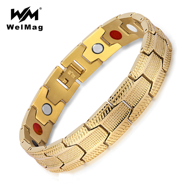 WelMag Healthy Germanium Bracelets for Men 2 Row 4 in 1 Health Elements Magnetic Stainless Steel Gold Bangles Bio Energy Jewelry