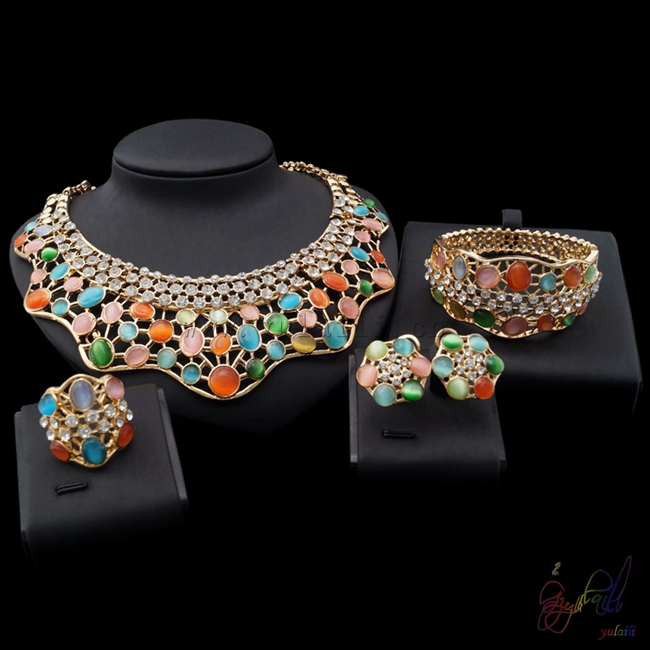 цена на Yulaili Free Shipping High Quality Gold Color Geometric Colorful Opal Ladies Four Jewelry Sets