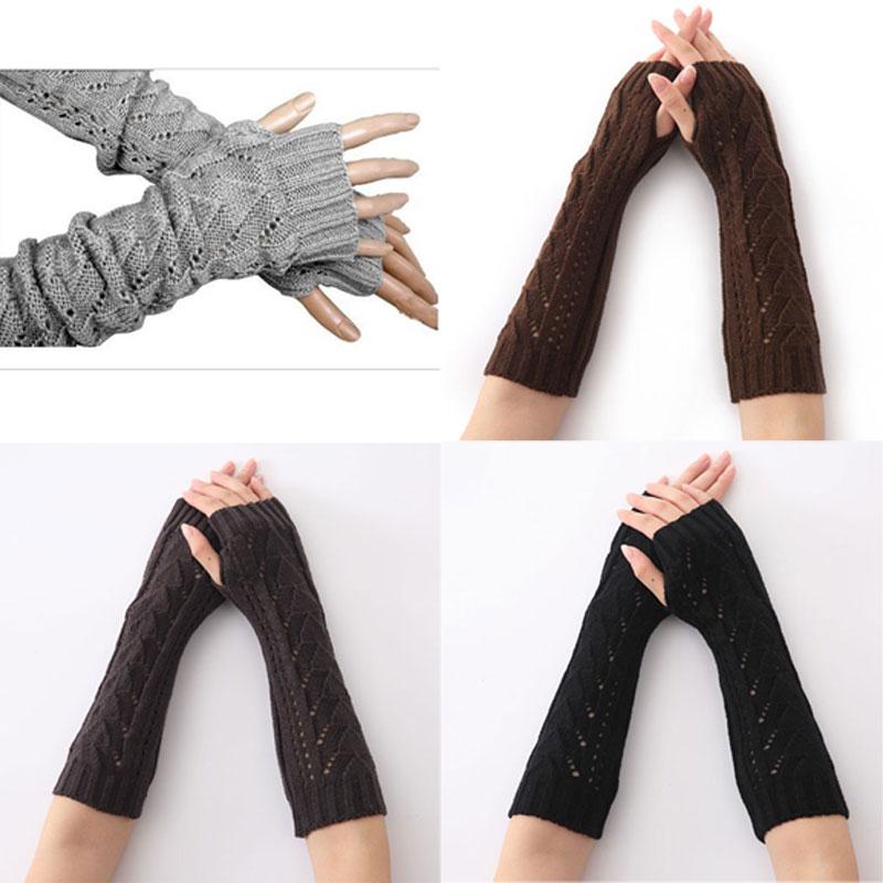 Design; In 1 Paar Frauen Winter Lange Handschuhe Gestrickte Finger Handschuhe Halb Hohl Arm Ärmeln Guantes Mujer Lxh Novel