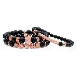 Image 4 - Mężczyźni bransoletka 3 sztuk/zestaw Uxury moda korona Charm bransoletka z kamienia naturalnego dla kobiet i mężczyzn Pulseras Masculina dla kobiet bransoletki