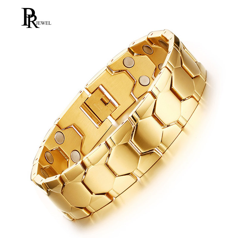 Double Magnet Germanium Energy Bracelet for Men Gold Color Stainless Steel Chain 3000 Gauss Healing Jewelry