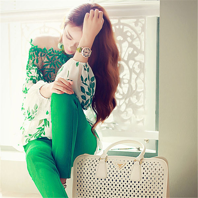 Lady Women Long Sleeve Blouse Lace Crochet Chiffon Top Green Leaf Blouse Hollow Long Sleeve Shirt Blusas