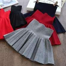 f51642861 Children Girls Skirts Kids Pleated Wool Blend Skirt Knit Casual Fall Wear  Toddler Teens Baby School Clothes Big Girl Tutu Skirts