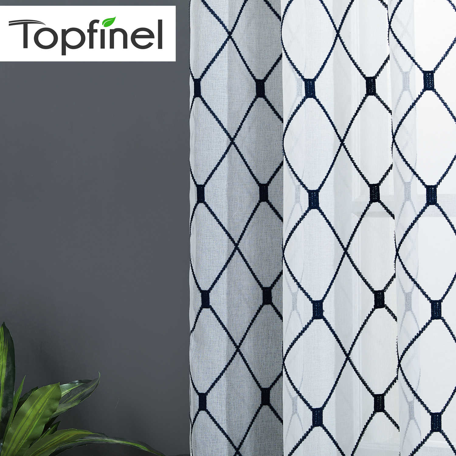 Topfinel Geometric Embroidered Sheer Curtains Tulle Window Curtains for Kitchen Living Room Bedroom White Voile for Cafe