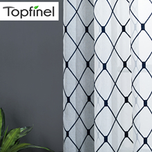 Topfinel Geometric Design Sheer Curtains Tulle Window for Kitchen Living Room Bedroom Voile Cafe White