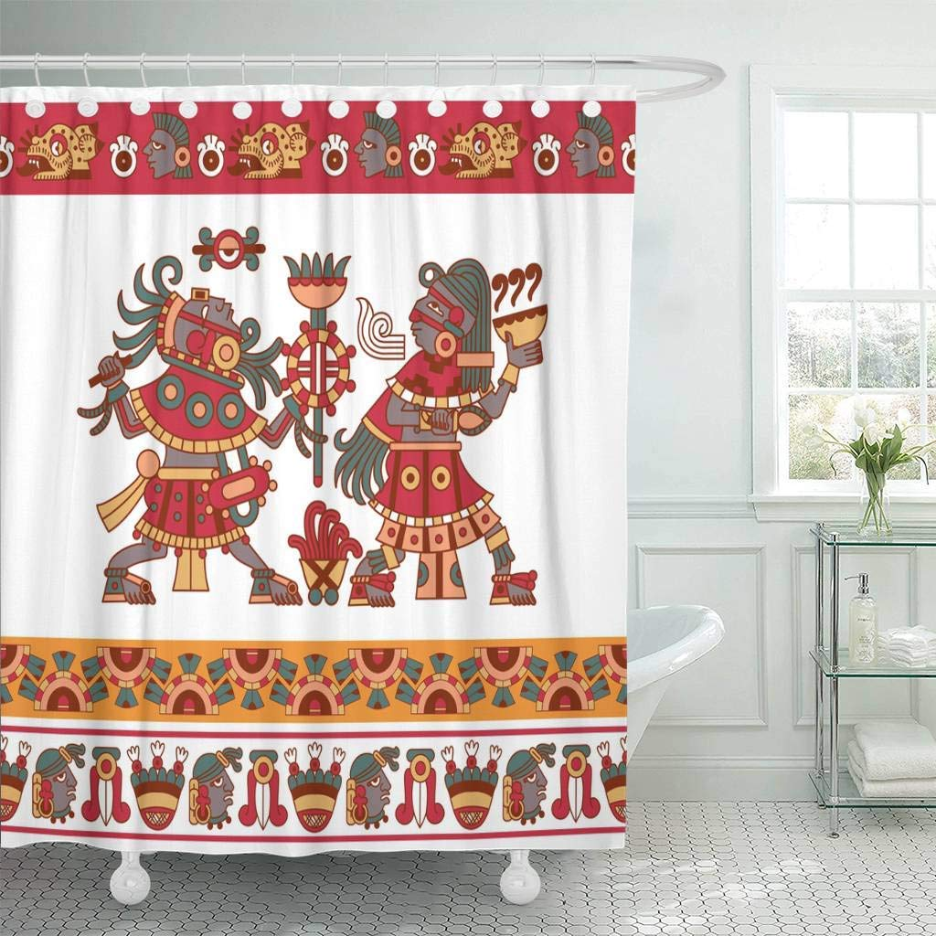 Fabric Shower Curtain With Hooks Aztec Cacao Pattern For