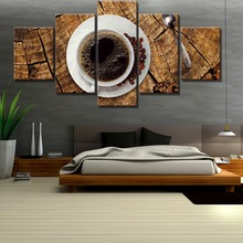 5 Piece Canvas Art Coffee Wood Kitchen Cuadros Decoracion Paintings on Wall for Home Decorations Decor Poster