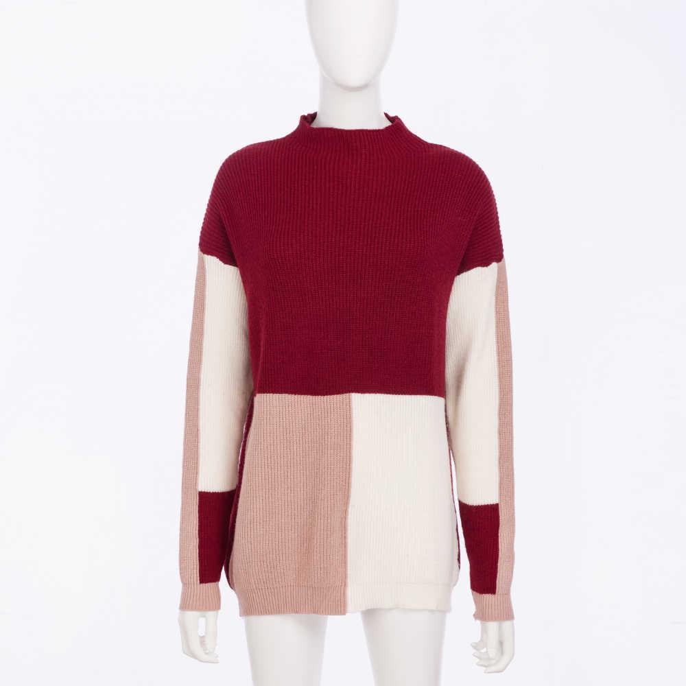 Modis лоскутный джемпер корейский женский свитер стиль с круглым вырезом длинный пуловер pull зимняя одежда женские топы и блузки свитера