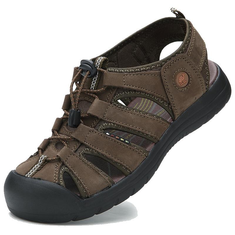 все цены на European Fashion Cool adult sandals 2018 Leisure casual Hook&Loop men's sandals Genuine leather high quality man shoes онлайн