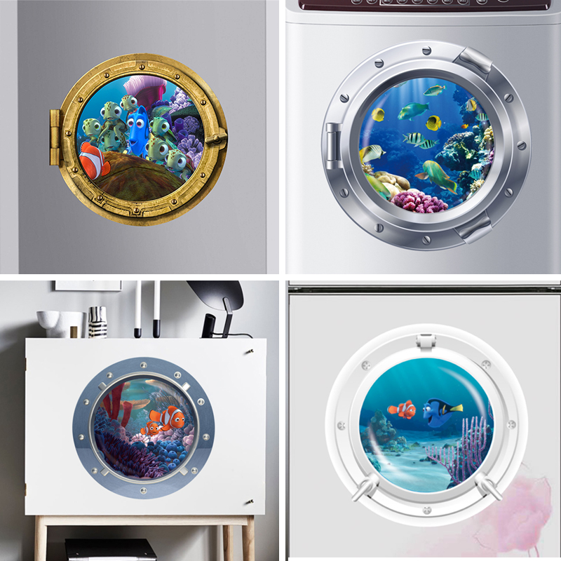 3d Ocean View Fish window Wall Sticker Nursery Bathroom Decals Sea Portal Peel stick Sea Cruise Wall Art for kids Rooms ...