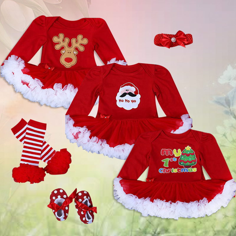 Christmas Baby's Four-piece Suits Long Sleeve Romper Skirt+Hairband+Shoes+Leg Warmer Xmas Baby Suits Toddler Romper Tutu Dress