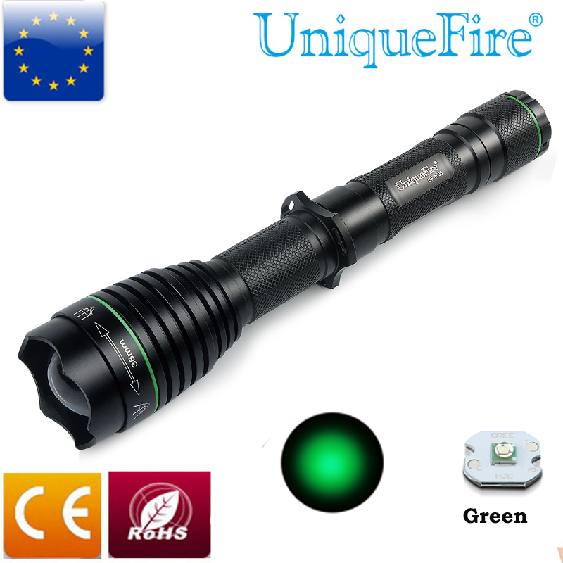 ФОТО Green Light UniqueFire Flashlight 1508 T38 XPE Super Bright Waterproof Torch With Rechargeable Batteries For Hunting