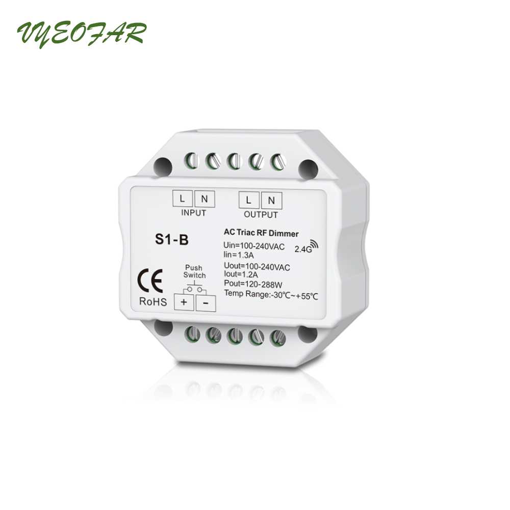 цена на New S1-B Led Triac Dimmer Controller 2.4GHz RF Wireless Remote Input voltage:100-240VAC Output 100-240VAC 1A Push Dimmer Switch