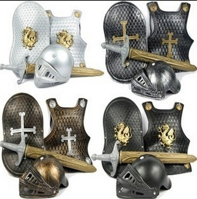 4pcs/pack wearable cosplay armor Warriors prop Swords Shield  hat toys for children